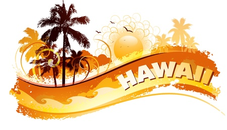 hawaii sunset: Tropical abstract background