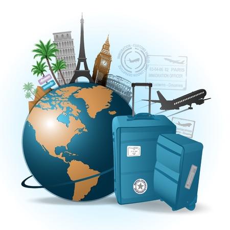 旅行の背景  イラスト・ベクター素材