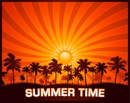 Summer sunset background Vectores