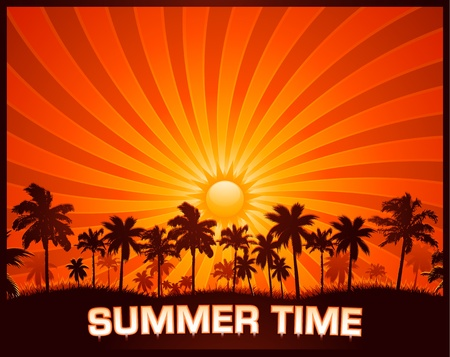 Summer sunset background Illustration