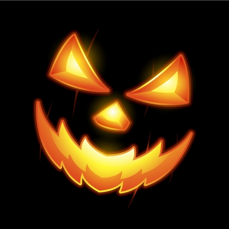 dark face: Halloween Jack o lantern smiley face Illustration