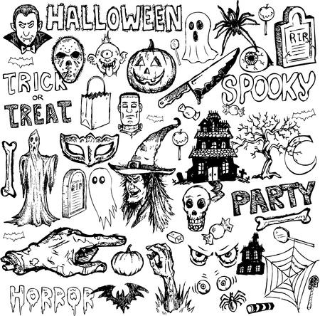 Halloween hand getekende doodles