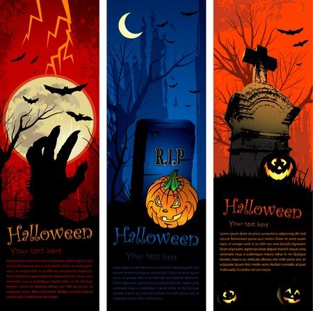 halloween party: Uitnodiging voor halloween-feest van verticale kopie ruimte banners Stock Illustratie