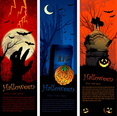 Vertical copy space halloween party invitation banners Stock Vector - 10536545