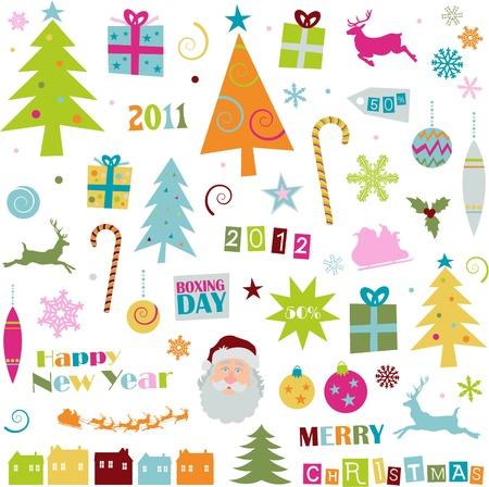 Rétro éléments de Noël Banque d'images - 11067129