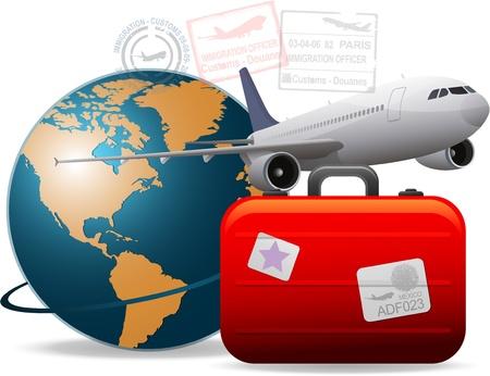 여행 비행기 개념