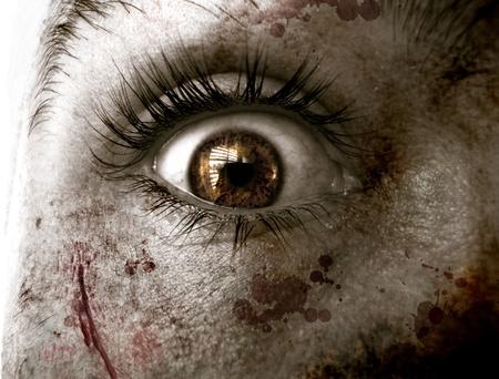fear:                      Creepy fear eye           Stock Photo