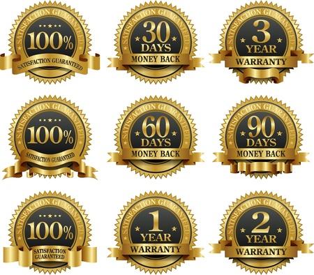 geld: Vector set van 100% garantie gouden labels Stock Illustratie