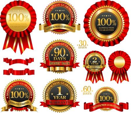 guarantee seal: Vector conjunto de etiquetas de garant�a 100% de color rojo y oro