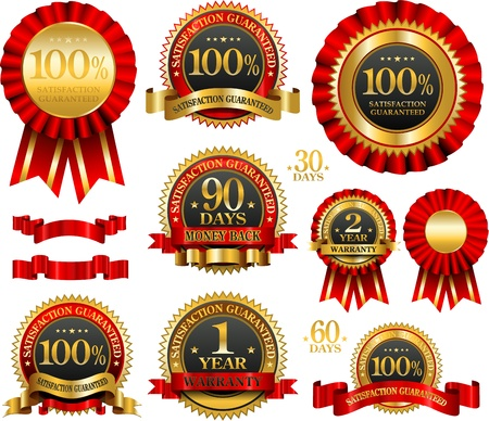 warranty: Vector set of 100% guarantee red and golden labels