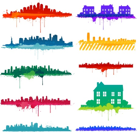 Paint splat city design Stock Vector - 12018267