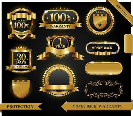 security symbol: Vector 100% satisfaction guaranteed label Illustration