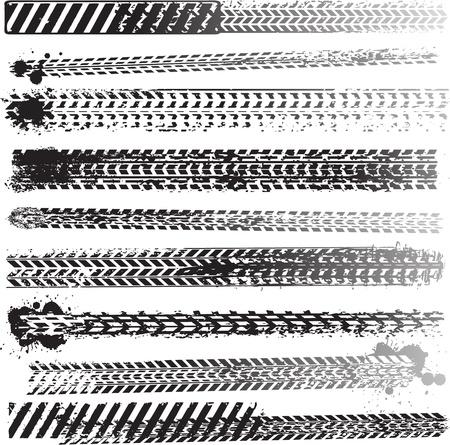 traces pneus: Ensemble de traces de pneus Illustration