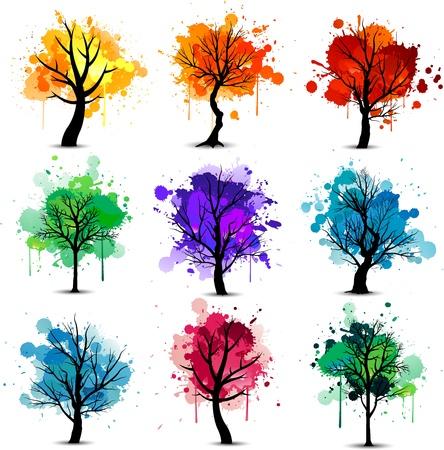 Abstracte kleurrijke boom achtergrond collectie
