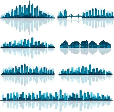 Set van gedetailleerde steden silhouet Stock Illustratie