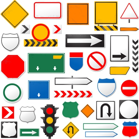 instruct: various road signs isolated on a white background