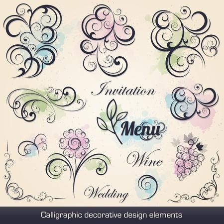 wine book: calligraphic decorative design elements collection