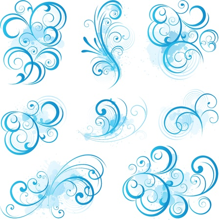 Blue scroll ornaments Vector