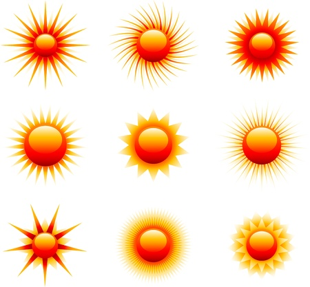 red sun icons Stock Vector - 13443703
