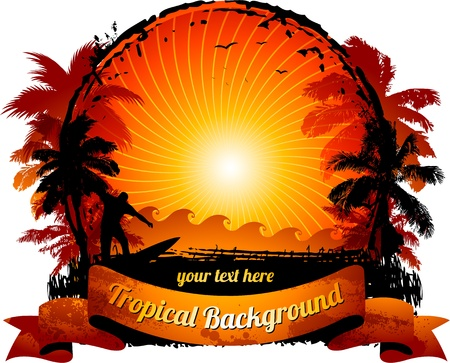 Orange sunset surfing beach banner Vector