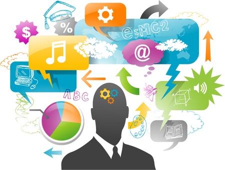 businessman with speech bubble communication concept Illustration