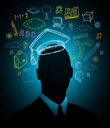 psicologia infantil: Estudiante de inteligencia la cabeza Vectores