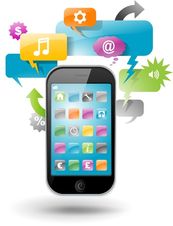 mobile app: Smartphone with speech bubble and application icons Illustration