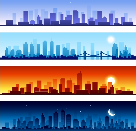 cityscapes at different time of the day Vector