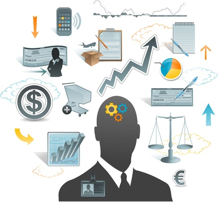 accounting design: business concept ideas design element Illustration