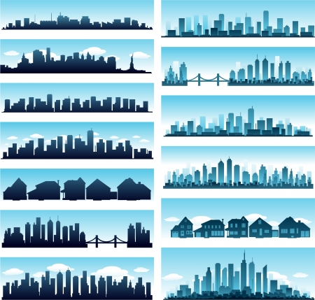 new york skyline: blue city skyline panoramic background collection set