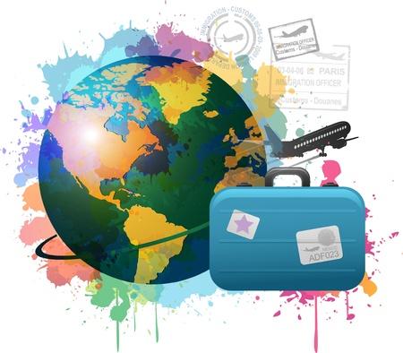 다채로운 여행 개념 페인트 표시 디자인