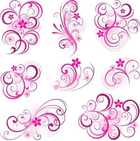 Pink abstract scroll flowers Vector