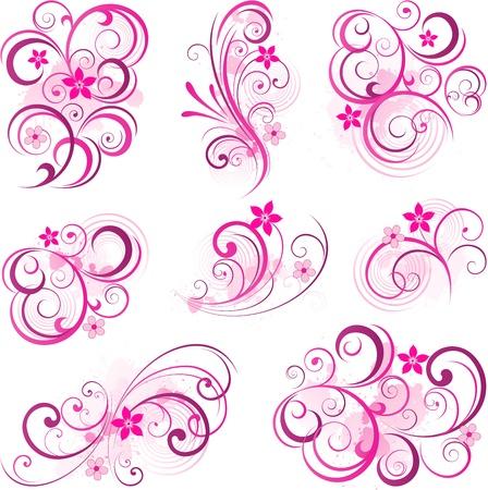Roze abstracte scroll bloemen