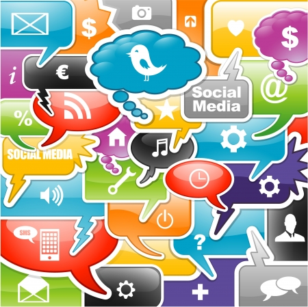 smartphone apps: social media icons bubble for intelligent phone