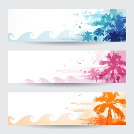 hawaii sunset: Tropical summer banners design with palm tree Illustration