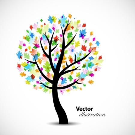 カラフルな抽象的な樫の木の背景デザイン  イラスト・ベクター素材