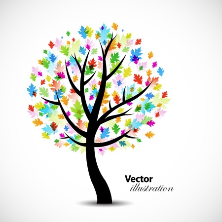 the Colorful abstract oak tree background design