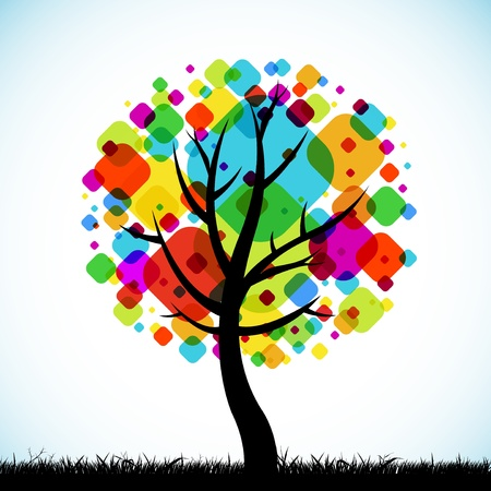 family: the abstract tree colorful background square design