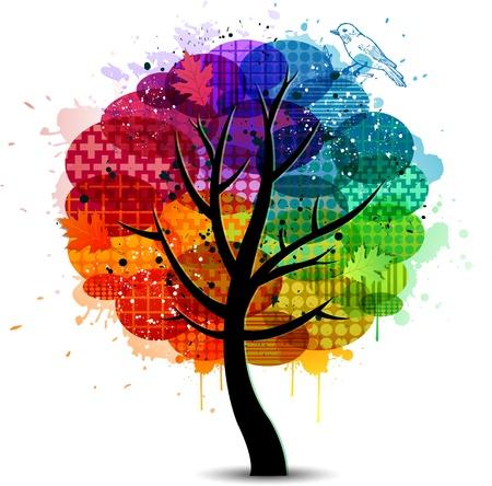 rainbow: Abstrait coloré conception d'arbre et la bannière Illustration