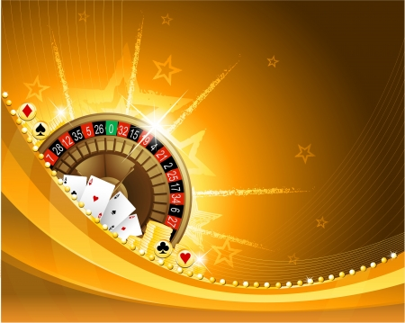 roulette: Casino sfondo dorato con roulette e carte da gioco Vettoriali