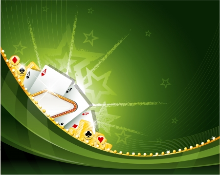 green background: casino sign background Illustration