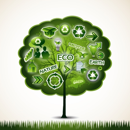 Green tree with many ecological icons design Stock Vector - 14578947