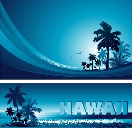 抽象的なカラフルな青い熱帯背景とバナー