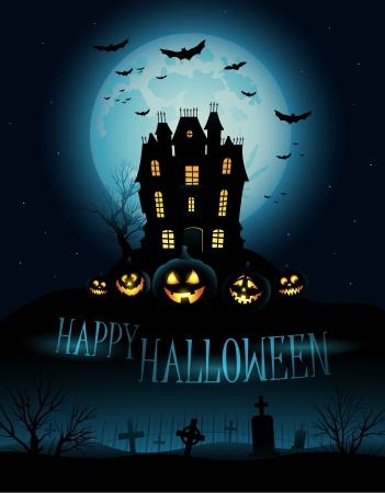 calabazas de halloween: Antecedentes de Halloween con casa embrujada y copyspace para el texto