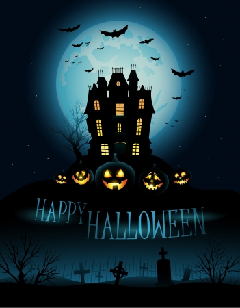 spooky tree: Halloween Background with haunted house and copyspace for text