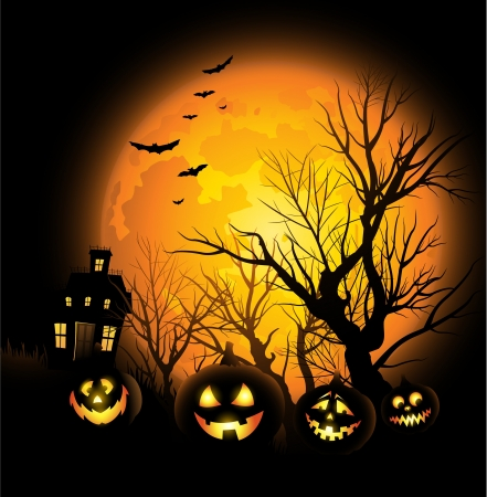 spooky tree: Halloween background with full moon and haunted house Illustration