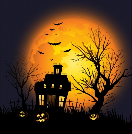 halloween lantern: Halloween background with haunted house and creepy tree