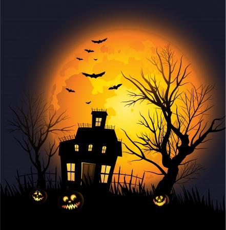 calabazas de halloween: Halloween de fondo con casa encantada y el �rbol espeluznante