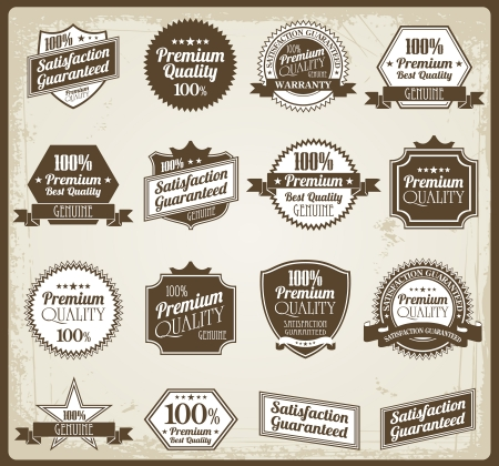 Collection of Premium Quality and Guarantee Labels with retro vintage styled design  Ilustrace