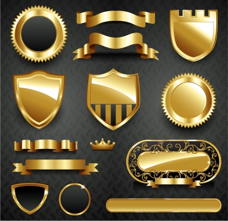 badge shield: Decorative menu ornate gold frame collection set